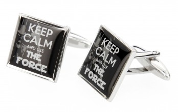 Quote cufflinks - Keep Calm and Use The Force