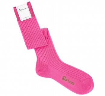 Pink cotton lisle knee socks fine ribbed