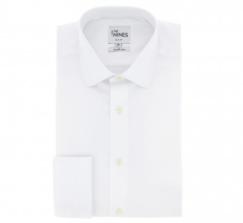 Slim Fit White Poplin Classic Rounded Collar French Cuff Shirt