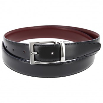 Reversible belt in black and bordeaux - James