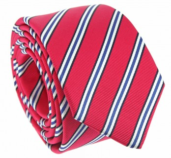 Fuchsia tie with white and blue stripes The Nines