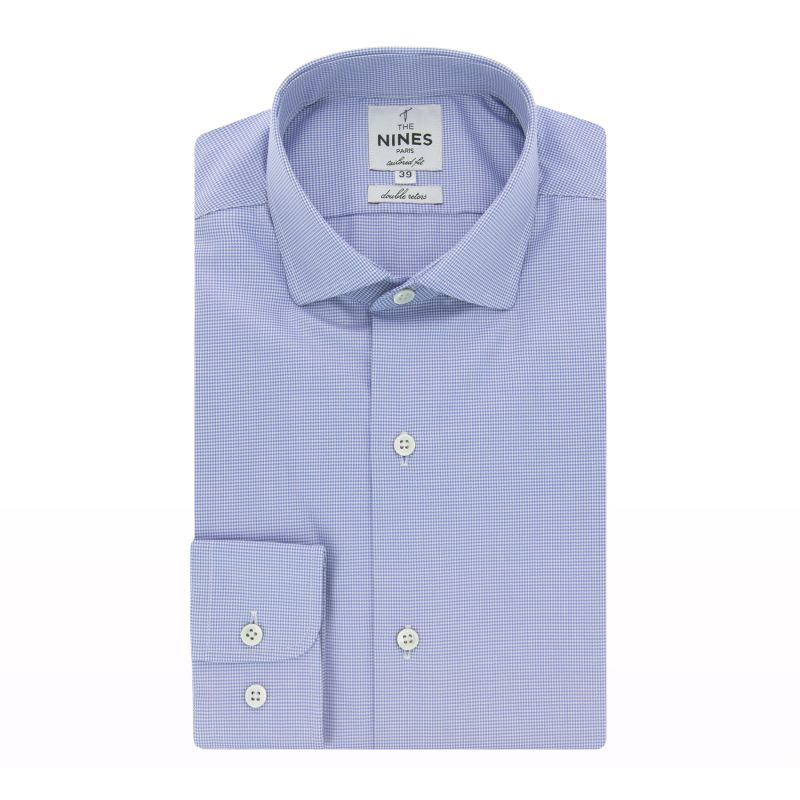 Blue hound's tooth classic rounded collar shirt