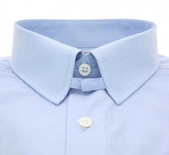 Sky blue houndstooth tab collar French cuff shirt Slim-fit