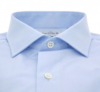 Sky blue houndstooth shark collar shirt