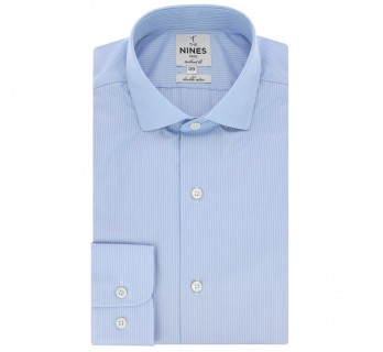 Chemise bleu ciel rayures blanches col italien arrondi tailored fit