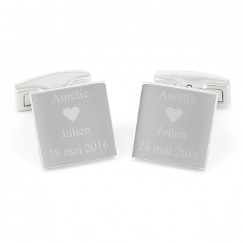 Square engravable sterling silver cufflinks - Turku