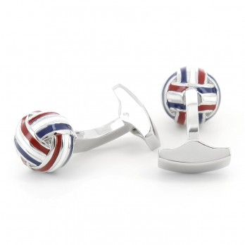 Blue white and red sphere cufflinks - Cambon