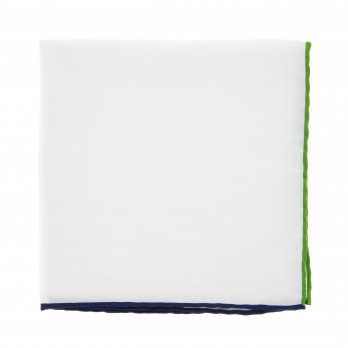 White Pocket Square With Green and Navy Blue Hemlines - Saint-Tropez