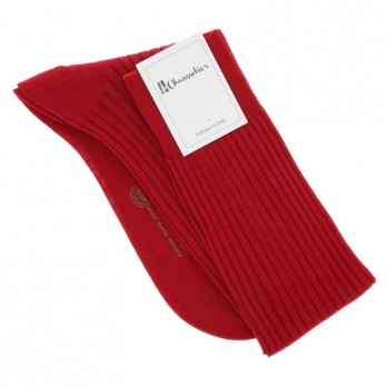 Red cotton lisle knee socks