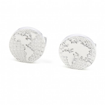 World map Sterling silver cufflinks - Globe trotter