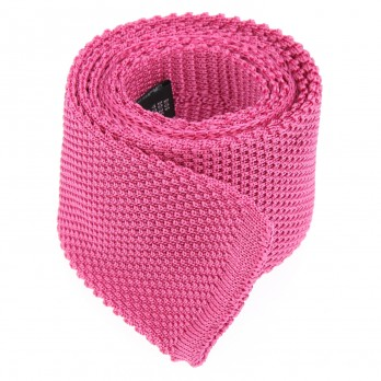 Bright Pink Knitted Tie Monza