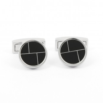 Round onyx black cufflinks - Scandola