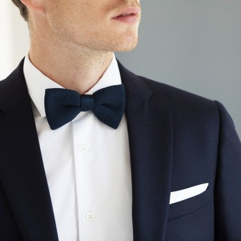 Knit Navy Blue Bow Tie - Monza