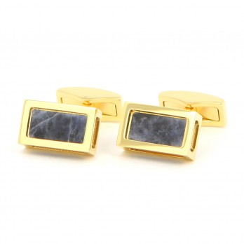 Rectangular abalone gold cufflinks - Djurgarden