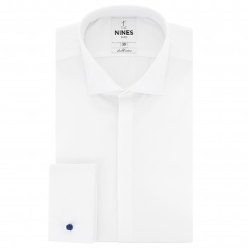 White shark collar French cuff shirt in poplin