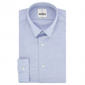 Light blue small collar shirt in oxford