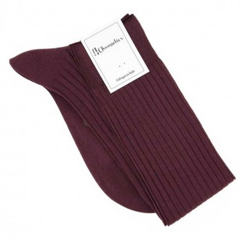 Burgundy cotton lisle knee socks fine ribbed