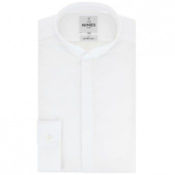 White rounded Mandarin collar shirt