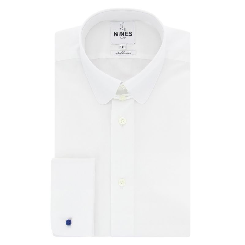 White rounded tab collar French cuff shirt