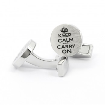 Quote cufflinks - Keep Calm And Carry On