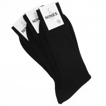 Pack of 3 black organic Giza cotton socks