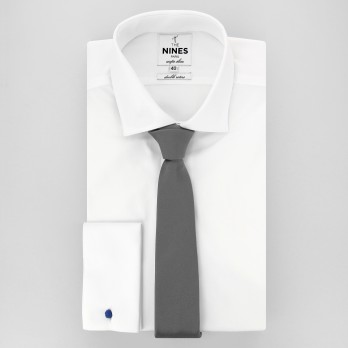 Grey Slim tie in Silk - Côme