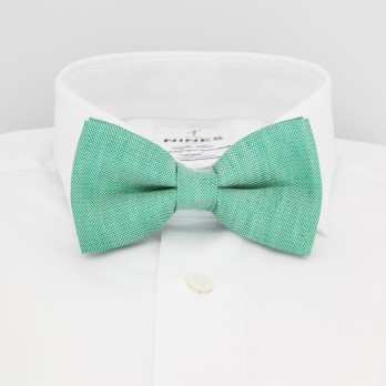 Green Bow Tie in Basket Weave Linen and Silk - Bergame