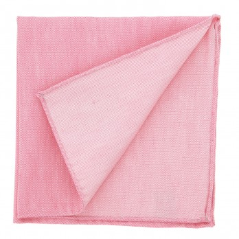 Light Pink Pocket Square in Basket Weave Linen and Silk - Bergame