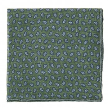 Green Linen Pocket Square with Blue Paisley Pattern