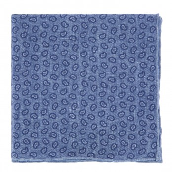 Blue Linen Pocket Square with Blue Paisley Pattern