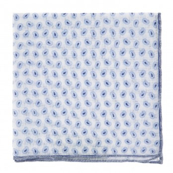 White Linen Pocket Square with Blue Paisley Pattern