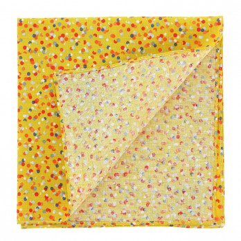 Yellow Pocket Square with Confetti Pattern in Cotton