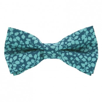 Petrol Green Liberty Bow Tie with Green Flowers