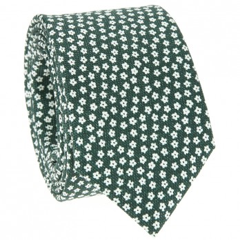 Green Tie with White Small Flowers in Printed Silk