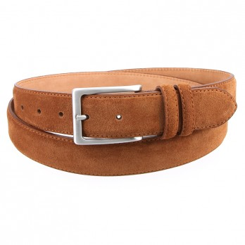 Cognac suede leather belt - Lino