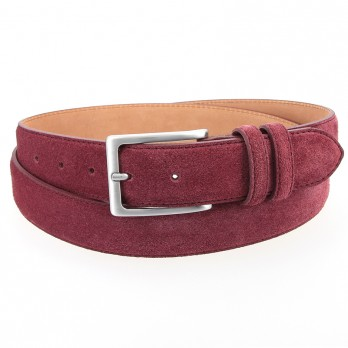 Burgundy suede leather belt - Lino