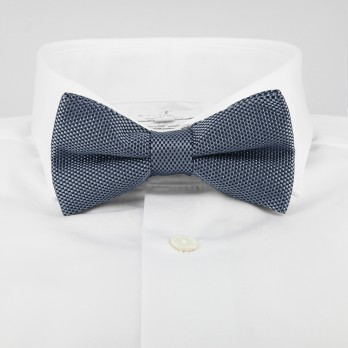 Grey Bow Tie in Basket Weave Silk