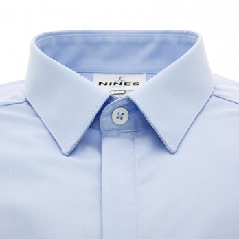 Light blue French collar mini twill shirt with hidden placket
