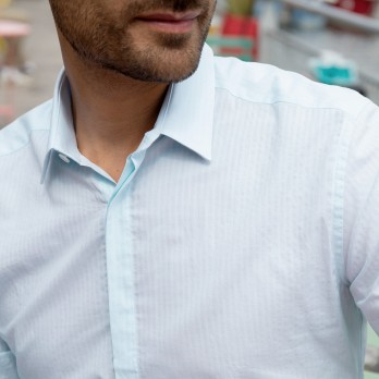 Light blue French collar seersucker shirt