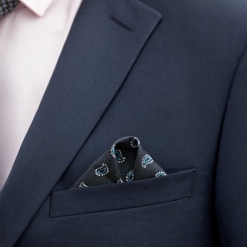 Navy Blue Pocket Square with Blue Paisley Pattern in Printed Silk