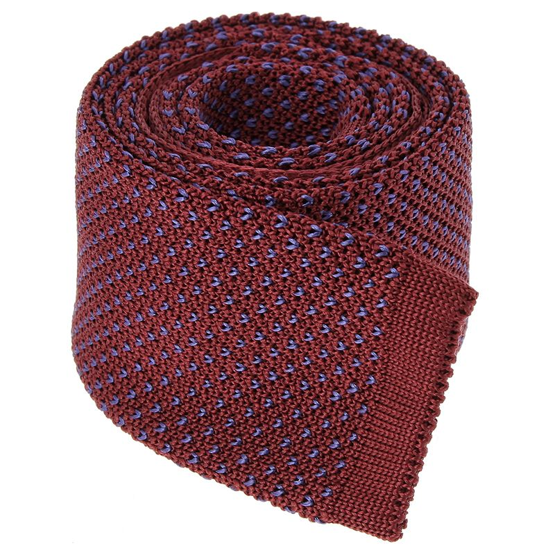 Burgundy Knit Tie with Blue V Pattern in Silk