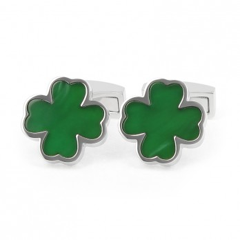 Green Four-Leave Clover Onyx Cufflinks