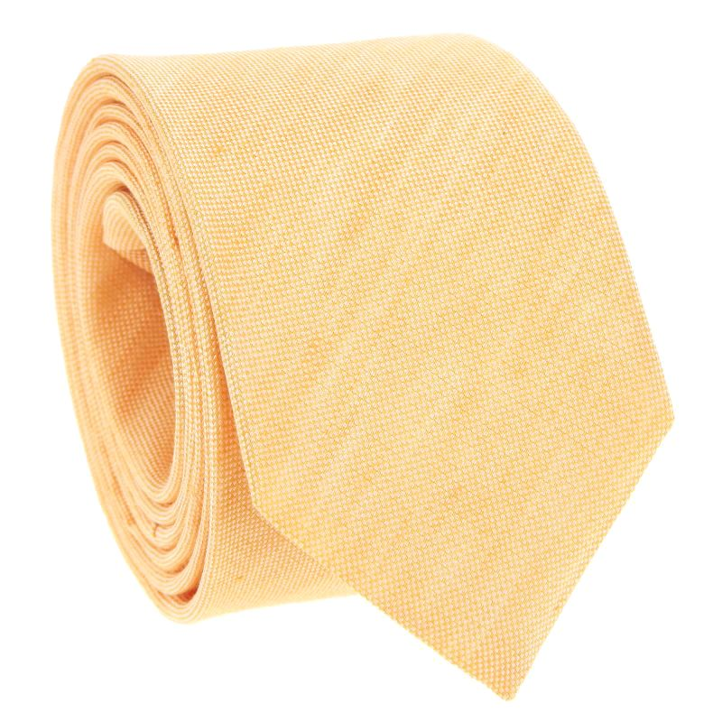 Yellow Tie in Basket Weave Linen and Silk - Bergame