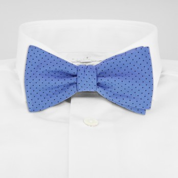 Light Blue Bow Tie with Navy Blue Dots in Silk - Washington DC