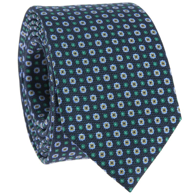 Navy Blue Tie with Green and Light Blue patterned in Printed Silk