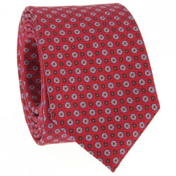 Red Tie with Brown and Light Blue patterned in Printed Silk