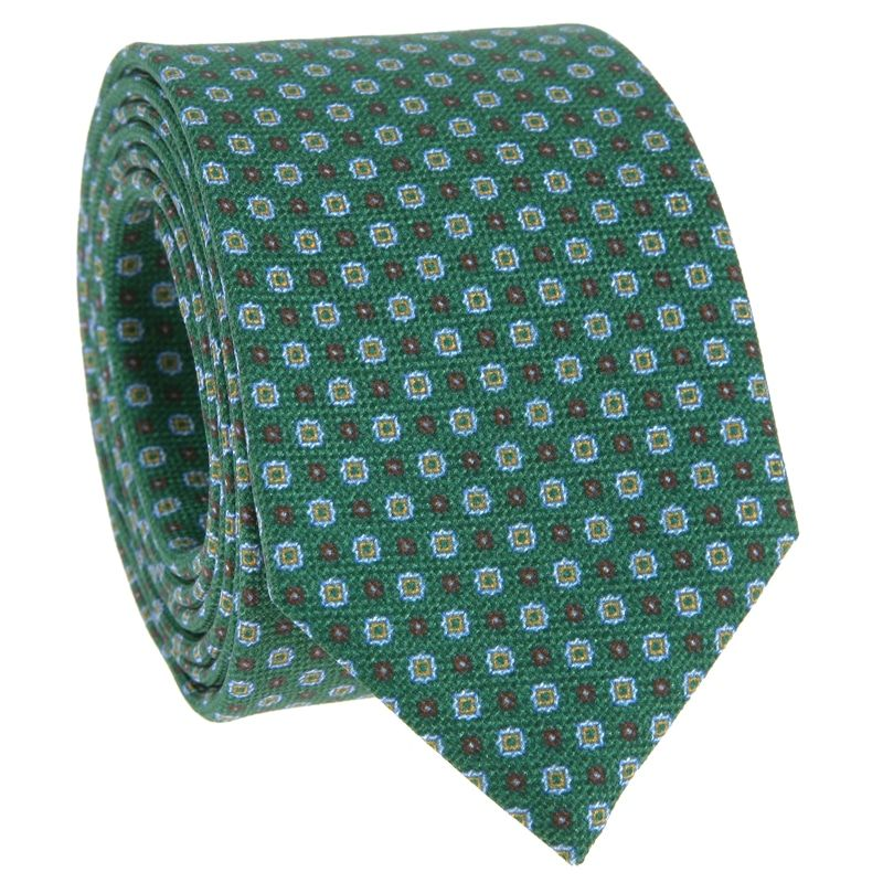 Green Tie with Brown and Light Blue patterned in Printed Silk