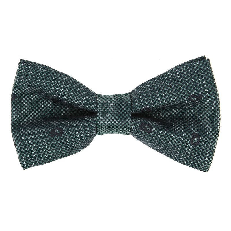 Green Bow Tie with Navy Blue Paisley Pattern in Jaspe Silk