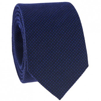 Blue Tie in Silk and Wool Basket Weave