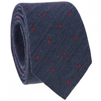 Navy Blue Tie with Red Dots in Wool
